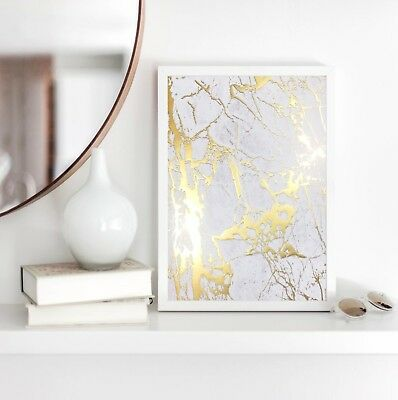 Marble Print White Grey & Gold - 1 x A4 - RAISED REAL GOLD FOIL PRINT (Unframed)