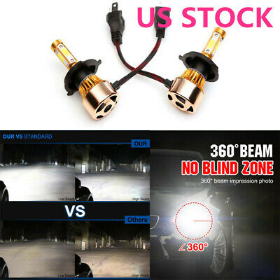 LED High Lo Beam Bulb H4 HB2 9003 Headlight 2300W 295000LM Conversion Kit 4-Side