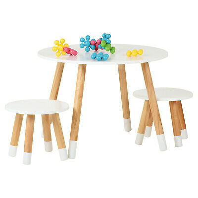 Hartleys Kids White Round Wooden Table & 2 Chairs Set Childrens Bedroom Playroom