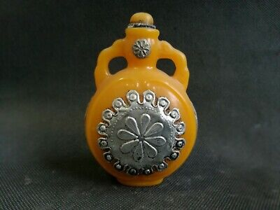 China Old Collectibles beeswax Armored Miao Silver Blooming flowers Snuff Bottle