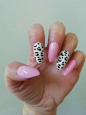 Hand Painted False Nails, Pastel Pink, White Animal Print, Long Coffin,Stiletto