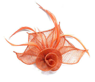 Coral Feather Beak Clip Fascinator Ladies Day Races Weddings Ascot 24