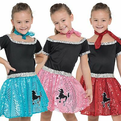 KIDS GIRLS 50S 60s Poodle Sequin Skirt Rock n Roll Grease