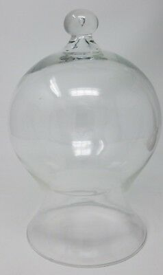 1 Vintage Glass Bell Jar Cloche Apothecary Display Dome Unique Shape - Italy -