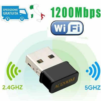 1200Mbps WiFi Wireless USB Dual Band Antenna Chiavetta Dongle per PC Windows Mac