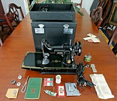 Rare Centennial 1951 Singer 221-1 Featherweight Sewing Machine, Case Ex-Nm Works