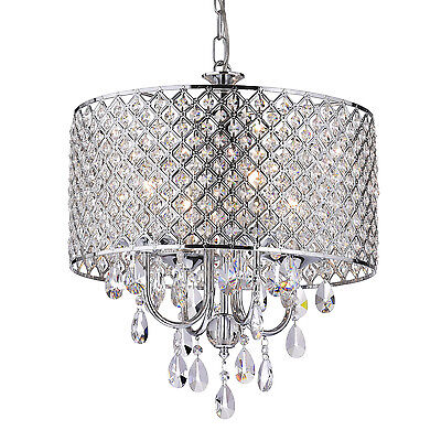 4-Light Round Drum Crystal Chandelier Ceiling Fixture Chrome Finish