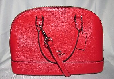 fd79568c8687 Coach Mini Sierra Satchel Leather Purse Hand Bag Crossbody BRIGHT RED NEW   295