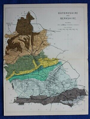 Original antique GEOLOGICAL MAP, OXFORDSHIRE, BERKSHIRE, RAIL, Reynolds, 1864-89