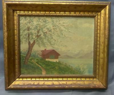 Antique Old NY American Landscape Oil Painting Impressionist Fausto Giovanetti A