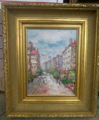French Landscape Impressionist Cityscape Paris Oil Painting Artist Signed Framed