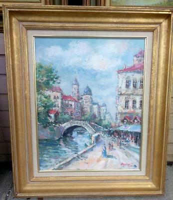 French Landscape Impressionist Cityscape Canal Paris Oil Painting Signed Framed