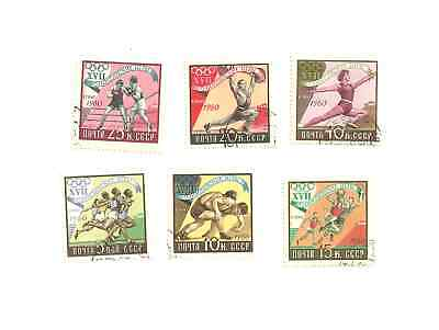 A small set of 6 different Postage Mint Stamps from Russia 1960 Olympic games
