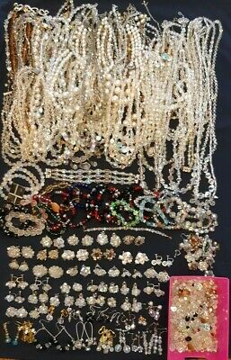 Huge Lot Of Vintage Crystal Jewelry Over 60 Necklaces, Over 40 Earrings, Plus ++