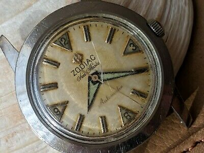 Vintage Zodiac Sea Skate w/Swiss Only Dial,Patina,Divers All SS Case,Runs Strong