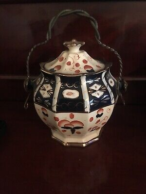 Mid Victorian Gaudy Welsh Biscuit Or Storage  Pot With Lid