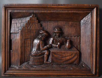 French Architectural 19th.C Deep Carved Oak Wood Wall Panel of Breton