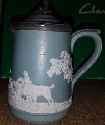 Antique Victorian Dudson Stoneware Jug Green Hunting Scene Incised 3661
