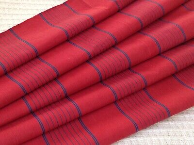 Antique French ticking fabric cotton red with blue stripes  RARE! early 1900's