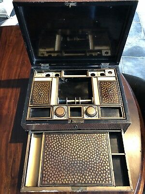 1810-1830 Chinese Export Lacquer Work Box, Chinese Lacquer Sewing Box