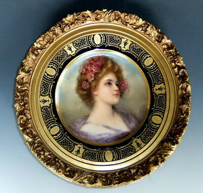 Outstanding Royal Vienna Signed Portrait Plate Gilded Ornate Wooden Frame