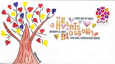 FDC Hearts Blossom Love ALL NEW for 2019 Hand Painted Cachet by Barnnie