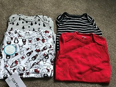 NEW Carters Baby Boys 4 Pack Winter Themed Long Sleeve Bodysuits - 3 Months