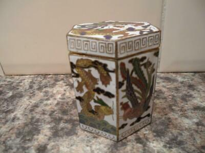 Vintage Cloisonne Dragon Fighting Cock Octagonal Trinket Box