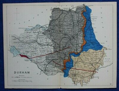 Original antique GEOLOGICAL MAP, DURHAM, RAILWAYS, Reynolds, 1864-89