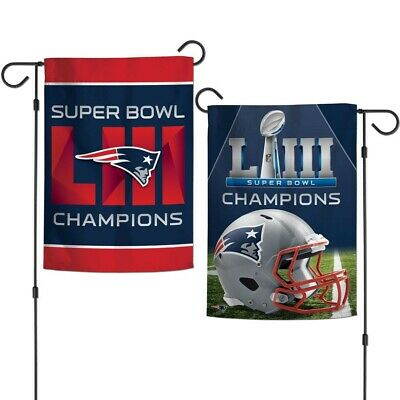 "New England Patriots Super Bowl Liii Champions 12""x18"" 2 Sided Garden Flag New"