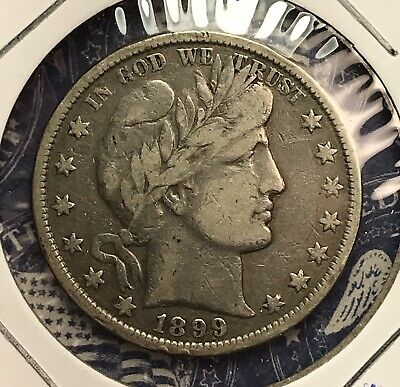 1899 Barber Silver Half Dollar Collector Coin For Your Set Or Collection .