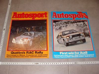2x Autosport UK 1981 Audi quattro Mouton Mikkola RAC Swedish Rally Toivonen ...