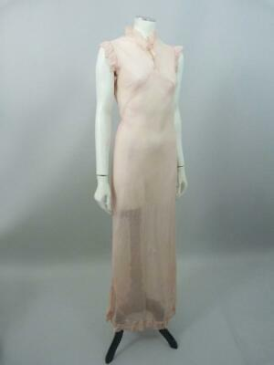Original 1930s Art Deco peach chiffon nightgown / dress for salvage -  UK 8 / 10