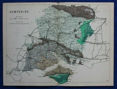 Original antique GEOLOGICAL MAP, HAMPSHIRE, ISLE OF WIGHT, Reynolds, 1864-89