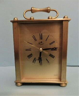 Vintage Brass ? Carriage Clock - Working - Battery Operated - Some Marking
