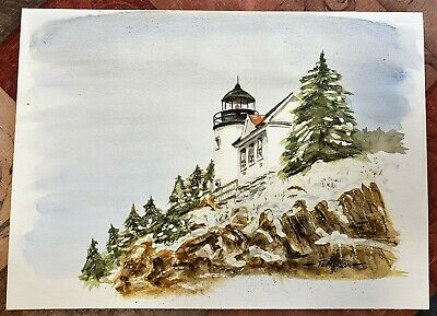 Lot of 5! Bass Head Lighthouse Maine, Watercolor Paintings by Various Artists