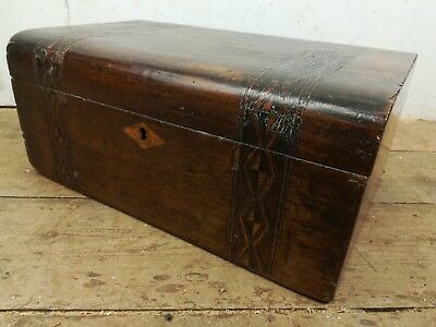 Antique inlaid wooden box sewing jewellery old