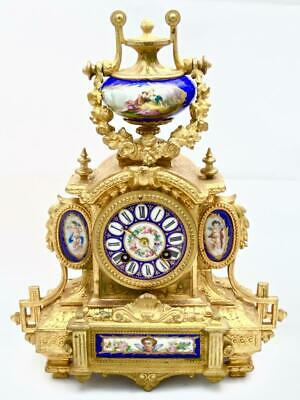 Antique Mantle Clock Stunning French Gilt & Blue Sevres Striking By Japy Freres