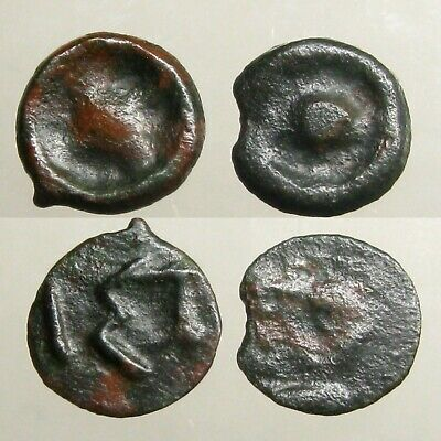 2 ISTROS MOESIA CAST BRONZE UNITS____Archaic Early Coinage____WHEEL / SOLAR DISK