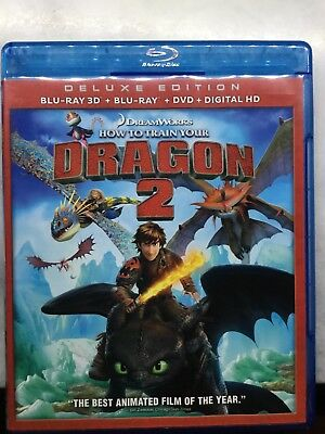 HOW TO TRAIN YOUR DRAGON 2 DELUXE ED BLURAY 3D BLUE RAY DVD No Digital Like New
