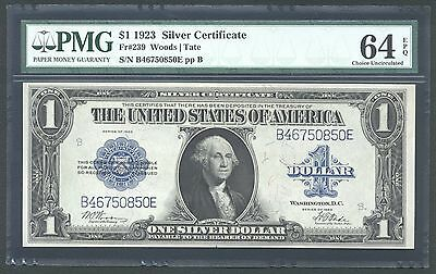 1923 $1 Silver Certificate Banknote Fr-239 Choice Uncirculated Certified Pmg-64
