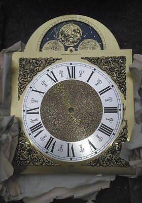 Hermle Emperor Clock Co Grandfather Clock Brass Dial Moon Phase & Night Shut off