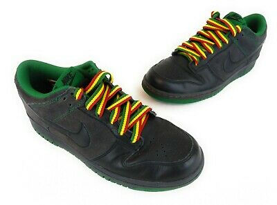 super popular 02f0e 99072 Nike Dunk Low CL Colorful Laces Black Green Rasta Jamaica SZ 9 EUC Free  Shipping