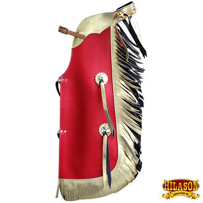 Hilason Western Leather Kids Junior Youth Pro Rodeo Bull Riding Chaps U-867Y