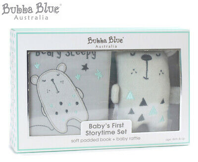 Bubba Blue Beary Happy Baby's First Storytime Set - Grey/Mint