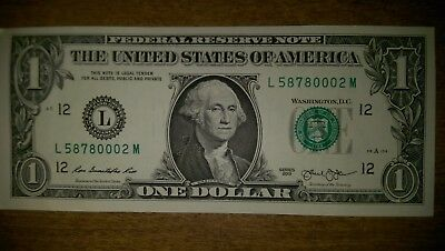 One (1) Uncirculated 2013 San Francisco US Dollar Note - Mint Condition $1 Bill!