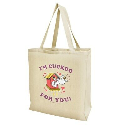 I'm Cuckoo For You Crazy Clock Funny Humor Grocery Travel Reusable Tote Bag