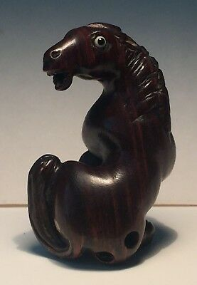Antique Japanese Carved Wood Netsuke Of A Horse. Signed / Matsuyama 19Th C