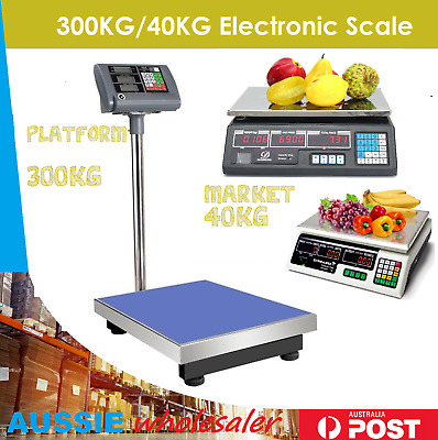 300kg / 40kg Electronic Digital Scale Commercial Shop Platform Kitchen Scales