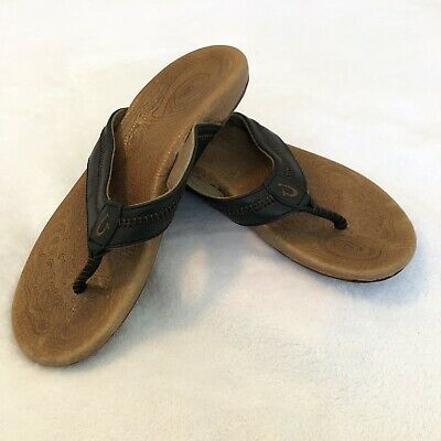 5d09a7d091d6a OluKai Haiku Black Leather Flip Flops Sandals Womens Shoes Size 8 US 38.5 EU